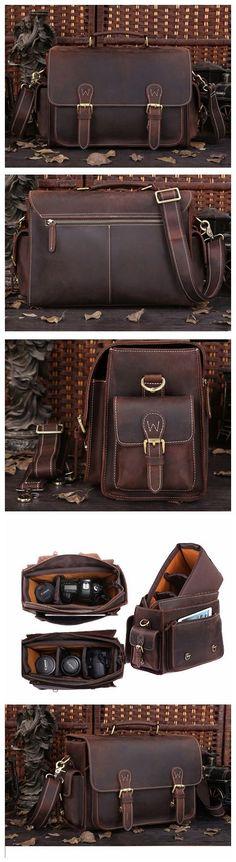 Handmade Vintage Style Leather Briefcase Messenger Bag Satchel Bag Crossbody Shoulder Bag