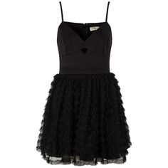 Ariana Grande For Lipsy Ruffle Prom Dress found on Polyvore featuring dresses, sweetheart prom dresses, flutter-sleeve dress, short dresses, little black dress and ruffle dress