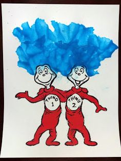 Thing 1 and Thing 2 blow painting