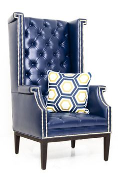 Sinatra Wing Chair in Navy Faux Leather