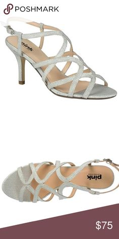 b49787b1eb2 PINK PARADOX LONDON SILVER RICH HEEL SANDALS Buckle at ankle with  adjustable closure. Open toe. Strappy silhouette. Synthetic lining and  insole.