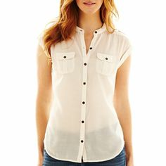 a.n.a® Tabbed-Sleeve Button-Front Shirt - jcpenney. Merida