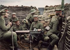 Six German soldiers pose in a in trench with machine gun, a mere 40 meters from the British line, according to the caption provided. The machine gun appears to be a Maschinengewehr or MG capable of firing rounds a minute. Triple Entente, Wilhelm Ii, Kaiser Wilhelm, World War One, First World, Bataille De Verdun, History Online, German Army, Military History