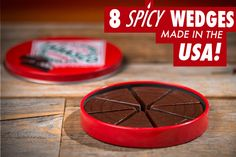 Each tin includes eight dark chocolate wedges.