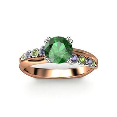 Round Emerald  14K Rose & White Gold Ring with Iolites and Green Tourmalines