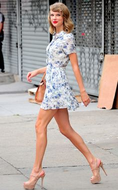Back to Basics from Taylor Swift's Street Style  Because basic, for T.Swift at least, is obviously any floral-print mini dress.
