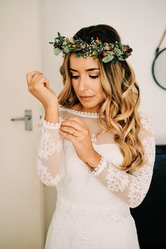 Bridal Hair and Makeup with Foliage and Berry Crown | By Max Burnett | Bridal Beauty | Bridal Preparations | Boho Bride | Flower Crown | Bridal Makeup | Boho Wedding | Rustic Wedding | Yurt Wedding | Sleeved Wedding Dress | Coastal Wedding Bridal Makeup For Green Eyes, Bridal Makeup For Brunettes, Indian Bridal Makeup, Bridal Hair And Makeup, Bridal Beauty, Wedding Rustic, Boho Wedding, Wedding Dress, Globe Guest Books