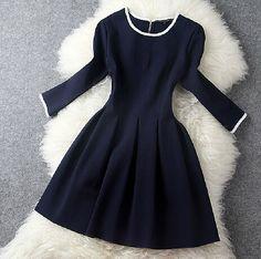 Slim round neck long-sleeved dress #102209AD