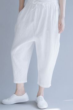 Fabric: Fabric has no stretchSeason: Summer Pant Type: Casual pants Waist Type: NaturalLength: Ankle lengthColor: Black,WhiteStyle: CasualMaterial: Cotton and Linen One Size(Fit S/M/L): cm Long Sweater Dress, Jeans With Heels, Type Of Pants, Apron Dress, Linen Pants, Wide Leg Pants, Cotton Linen, Casual Dresses For Women, Black Cotton
