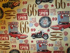 CLASSIC MOTORCYCLES CARS DINER ROUTE 66 COTTON FABRIC FQ #Kanvas