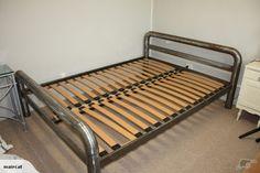 Industrial bed Industrial Bed, Industrial Farmhouse Decor, Custom Furniture, Man Cave, Interior Design, Living Room, Beds, Bedding, Flat