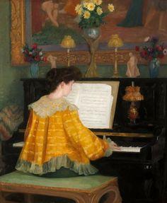 François Gauzi  - Jeune femme au piano 1904