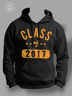 Class of 2017 black hoodie. $30 Available in yellow gold, red, white, blue, or green lettering.