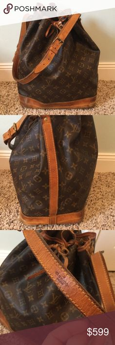 "LV Noe GM Authentic Louis Vuitton Noe GM Bag in fair used condition, some water spots on the leather and some interior staining and tears on interior lining but otherwise a clean, solid bag. No rips or tears on the monogram leather, no tears on the vachetta leather. When laid flat 15"" x 13 1/2"" with 10 inch strap drop LARGE SIZE but multiple blemishes and priced accordingly. Reasonable offers only JFC140 Louis Vuitton Bags Shoulder Bags"