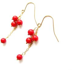 Custom Made Order Genuine Red Coral Earrings, Mini Cluster Earrings,... ($25) ❤ liked on Polyvore featuring jewelry, earrings, 14k gold filled jewelry, 14 karat gold jewelry, gold filled jewelry, earring jewelry and 14k jewelry