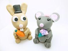 Brautpaar Hasen Hochzeit Tortenfiguren Deko Paar