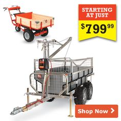 The most versatile work trailer anywhere!  Hauls up to 2,000 lbs and is equipped with a Boom-Lift to lift loads up to 440 lbs. Use with your ATV,UTV or garden tractor to take the work out of lifting, dumping, and hauling.