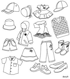 dessin à imprimer : des vêtements d'enfants Five Senses Preschool, Fall Preschool, Preschool Books, Around The World Crafts For Kids, All About Me Crafts, Colouring Pages, Coloring Pages For Kids, Coloring Books, Visual Schedule Autism