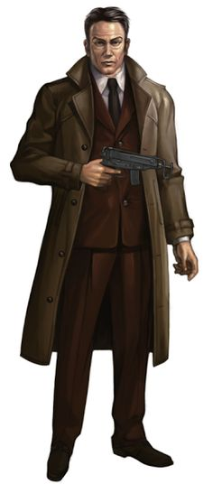 shadowrun; male; human; detective; lined coat; pistol