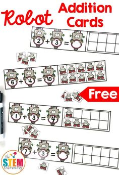 Free Robot Addition Cards! A fun way for kindergarten and first grade kids to work on beginning addition up to 10. Perfect for math centers year around. #mathcenters #mathfreebies #freeprintables #theSTEMLaboratory