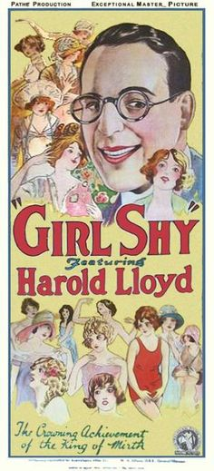 """Harold Lloyd in """"Girl Shy,""""(1924): """"The Crowning Achievement of the King of Mirth."""" Found the full film: http://viooz.co/movies/9766-girl-shy-1924.html CLICK ON THE LINK, NOT THE COLORFUL POSTER."""