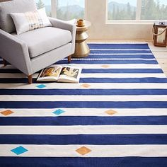 Steven Alan Geometric Stripe Cotton Kilim Rug *** Great rug, this would be really fresh in the living room and love the pops of blue and orange but maybe not quite right?