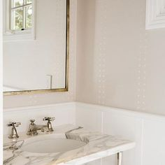 Powder Room with Nickel and Glass Washstand