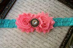 Turquoise Lace Headband, Baby Girl Headbands, Newborn Headbands, Infant Headbands, Toddler Headbands, Girls Headbands. $8.49, via Etsy.