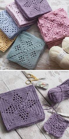 Motifs Granny Square, Crochet Blocks, Granny Square Crochet Pattern, Afghan Crochet Patterns, Crochet Motif, Crochet Designs, Crochet Stitches, Knitting Patterns, Free Crochet Square