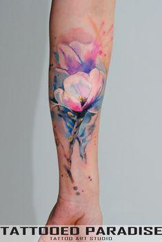 Magnolia WatercolorTattoo by dopeindulgence.deviantart.com on @DeviantArt
