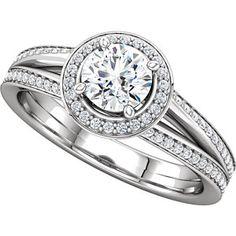 ANNISTON style 122181 Round-Shape Split-Shank Halo-Style Engagement Ring  #everandeverbridal