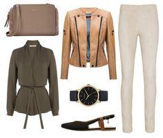 khaki shirt, beige pants, caramel leather jacket - Erin - Verssen, watch, flat shoes