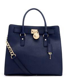 MAGIC OF BLUE BAGS.BOARD BY MARIA FANO - mariafano.com -Michael Michael Kors Large Hamilton Saffiano Tote Bag in Blue (navy)