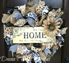 Everyday deco mesh wreath, Black Tan and White Everyday wreath, Bless Our Home everyday wreath, Every Season BLess Our Home Mesh wreath by DeanasDecoDesigns on Etsy