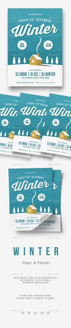 Ejemplos de Carpetas Creativas para Identidad Corporativa - winter flyer template