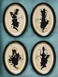 Tea silhouettes set of all 4 85x11 prints par BarkingMadArts. , via Etsy.