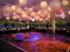 DIY Decor For Over Dance Floor :  wedding ceiling decor draping paper lanterns reception reception decor Paper Lanterns