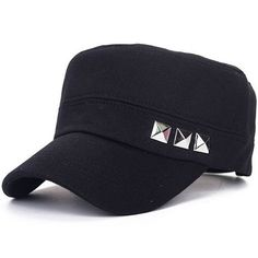 c52c9fbf770 Fashion Men Army Style Cadet Hat with Three Studs Warm for Autumn and  Winter Flat Cap