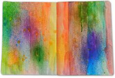 Composition notebook, pages with gesso, watercolors and Dylusion Ink Spray | By: RuthArt