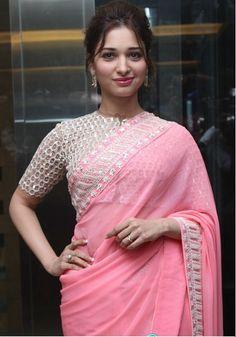Indian Girls Villa: Tamanna Stills At Baahubali Tamil Trailer Launch Sarees For Girls, Saree, Pink Saree, Fancy Sarees, Indian Women, Saree Trends, Blouse Designs, Latest Fashion For Girls, Baby Pink Saree