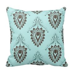 Damask,turquoise,teal,brown,vintage,victorian,chic Throw Pillows