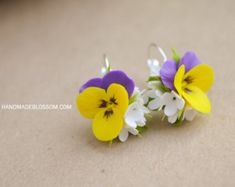 Pansies necklace Pansy flowers jewelry Fimo flowers
