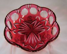 Gold Crown Cranberry red Cut To Clear Crystal Art Glass bowl West Germany