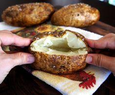 How To bake those crunchy/salty baked potatoes like restaurants make.