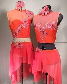 Vibrant coral custom contemporary duet costumes for Emma and Lauren.