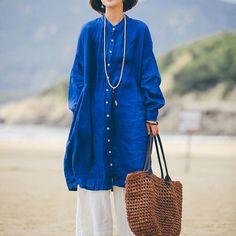 Loose linen shirt long sleeve linen top linen tunic by newstar2016