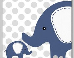Light blue and grey ELEPHANT nursery Art Print 8x10
