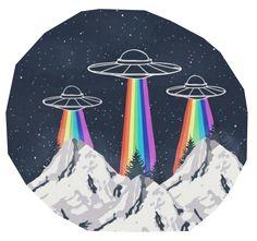 alien, rainbow, and grunge image
