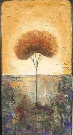 Lone tree painting 10 x 20 inch original textured art made to order Lauren Marems