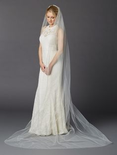 Cathedral Length One Layer Cut Edge Wedding Veil